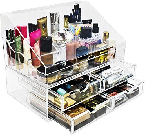 ... Sorbus Acrylic Cosmetics Makeup Organizer Storage Case Display With  Slanted Open Lid Cosmetic Storage For ...