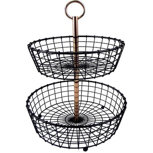 Two Tier Wire Basket Stand With Copper Plated Handle Black Gm017015b