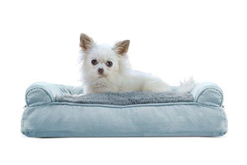 Furhaven Pet Plush Suede Pillow Sofa Pet Bed Deep Pool Small