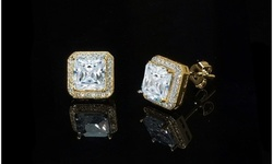 Princess Cut Halo Stud Earrings in 14K Gold Plating Made with Swarovski Crystals Stud Brass Crystal 1855911