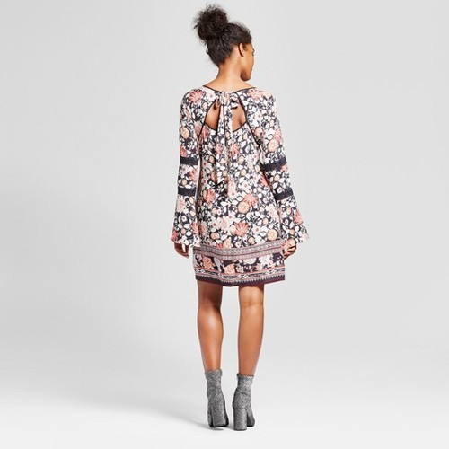 45064a423d Xhilaration Women s Printed Bell Sleeve Shift Dress - Multi - Size  ...