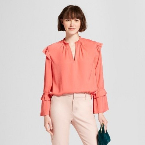 3896bd5b13c637 ... A New Day Women's Long Sleeve Satin Ruffle Blouse - Coral - Size:S ...
