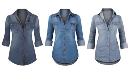 b3ba1278 Women's Button Down Roll Up Sleeve Classic Denim Top XX-Large (12 ...