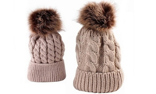 Marcus Mom   Baby Pom Pom Hat Set 2 Piece - Beige - Check Back Soon ... 2aef96f7ed5d