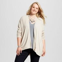 Women's Plus Size Textured Open Cardigan - Ava & Viv Oatmeal 3X 1889627