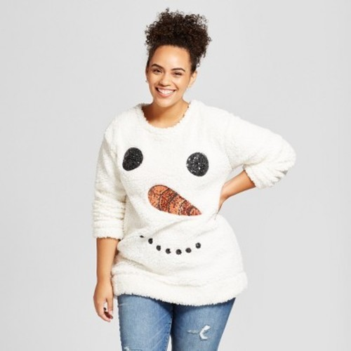 75a5a4e2952 Women s Plus Size Snowman Sherpa Pullover Sweater - Miss Chievous (Juniors )  ...