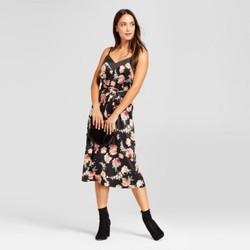 Women's Floral Satin Slip Dress - A New Day Black XS 1891878