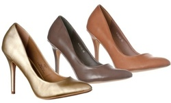 Riverberry Women's Gaby Pointed Closed Toe Stiletto Pump Heels 7 Medium Taupe PU 1896316
