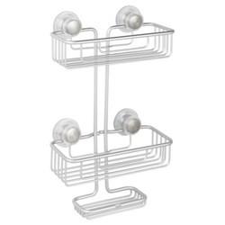 Rustproof Aluminum Turn-N-Lock SuctionBathroom Shower Caddy 3-Tiers Silver - InterDesign 1912255