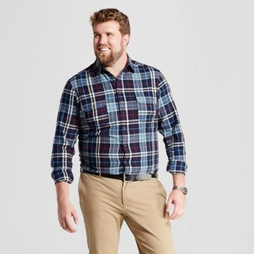 23075f8250b1 Men s Big   Tall Standard Fit Plaid Flannel Shirt - Dark Blue - Size ...