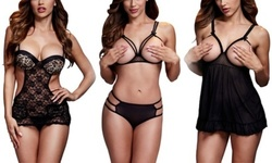 Baci Bodysuits and Chemises: Red Strappy Open Cup Bra Set Panty 1916024