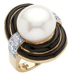 60 TCW Genuine Pearl and Black Agate