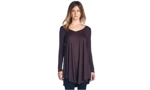 af7d28ad176 ... Popana Long Sleeve Vneck Women s Tunic Top - Heather Gray - Size 2X ...