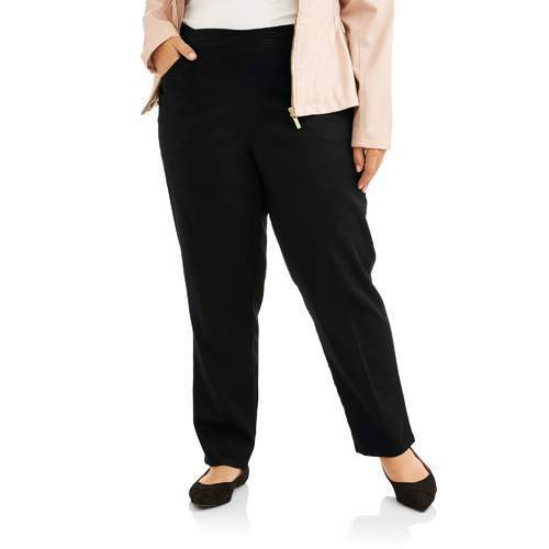 Just My Size Women S Pull On Stretch Woven Pants Black Size 3xp