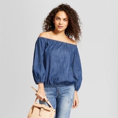dbb5aff9672078 ... Universal Thread Women s Off the Shoulder Denim Blouse - Blue - Size S  ...