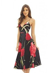 AX Paris Women's Strappy Floral Midi Skater Dress - Multi - Size:14 1942131