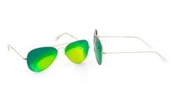 AQS Unisex James Mirrored Aviator Sunglasses - JMS015/Green Lens