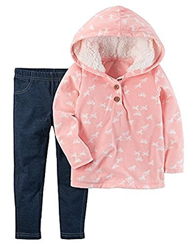 a05acacf4534 Carters Baby Girls 2 Piece Faux Pink With Horses Sherpa Hoodie and ...