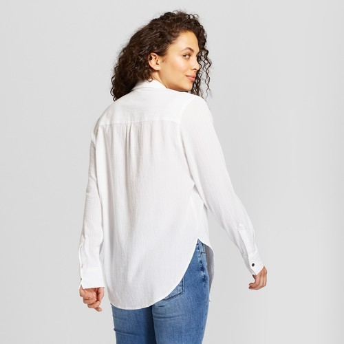 4631b90466afe7 Universal Thread Women's Tie Front Button Down Shirt - White - Size:L ...