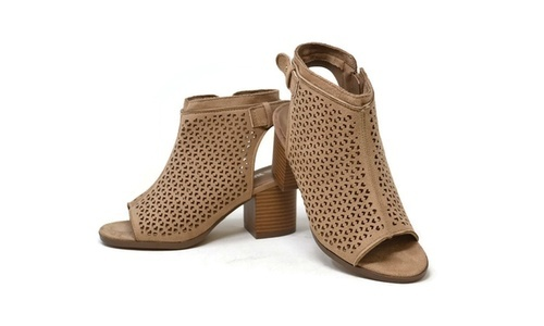 b20448e3156 ... Mata Trading Women s Cut-Out Low-Stacked-Heel Booties - Beige - Size ...