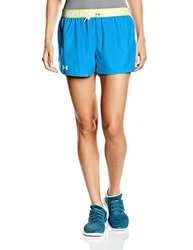 Under Armour Women's Play Up Shorts, Dynamo Blue/High-VIS Yellow, Large 1983667