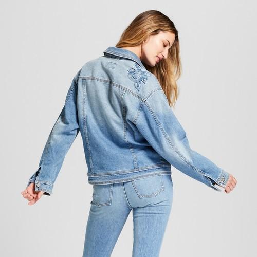 Women s Embroidered Denim Trucker Jacket - Universal Thread™ Light Wash bcad33372d