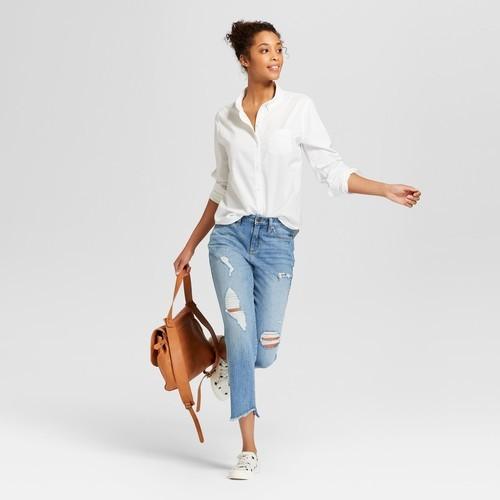5a29531d Universal Thread Women's Camden Button Down Shirt - White - Size:XS ...