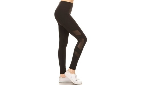 1c3f40a1013 Zhejiang Women s Mesh Panel Full Length Leggings - Black - Size L ...