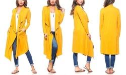 Isaac Liev Women s Drape Front Cardigan - Mustard - Size XL - BLINQ 9a01cb70c