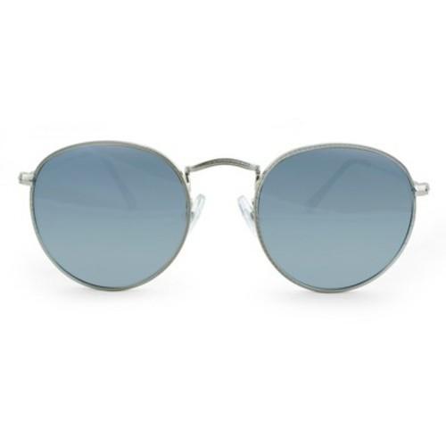 5da3ed59a ... Men's Round Sunglasses with Smoke Mirrored Lenses - Silver/Blue ...
