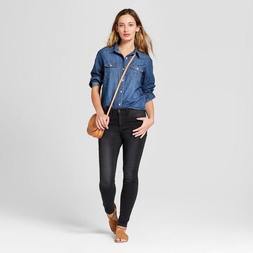 b72ab8258e9 Universal Thread Women s Denim Button Down Shirt - Dark Wash - Size ...