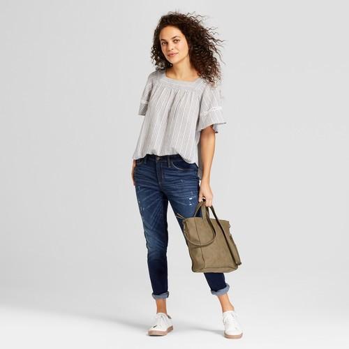 9a485ffa14e2f0 Universal Thread Women s Striped Ruffle Sleeve Top - Blue - Size S ...