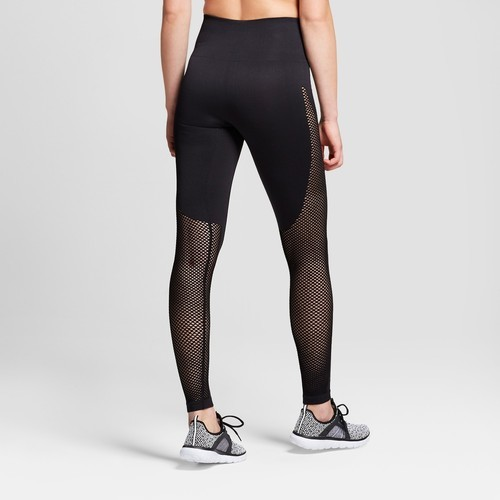 16f76dfc260 JoyLab Women s Seamless 7 8 High Waist Laser Cut Leggings - Black - Size   ...