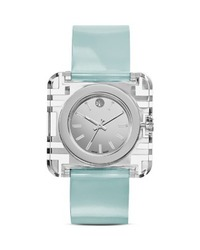 Deals on Tory Burch Womens Izzie Square Leather Strap Watch Open Box