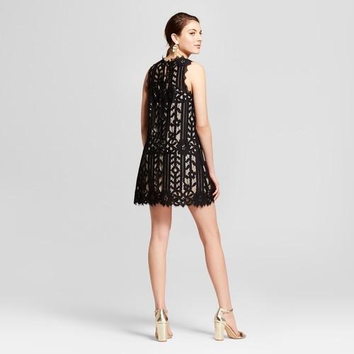 Lots Of Love Womens Junior Sleeveless Lace Shift Dress Black