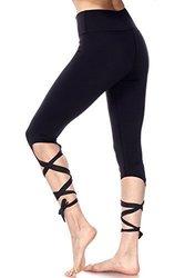 La Reve Cutout Tie Leggings For Women - Ballerina Yoga Pants High Waist For Dance 2076977