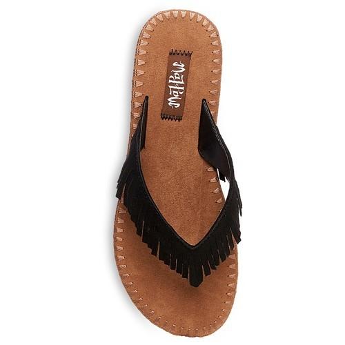b08124aa602c Mad Love Women s Morgan Fringe Thong Sandals - Black - Size 10 ...