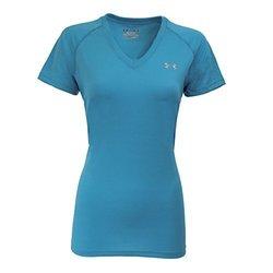 Under Armour Women's UA Tech V-Neck T-Shirt XS Aqua/Steel Essential Tees 2102098