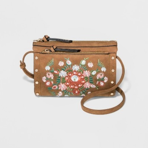 cf0901273f1e Violet Ray Women s Embroidered Double Zip Cross Body Bag - Cognac - Check  Back Soon - BLINQ