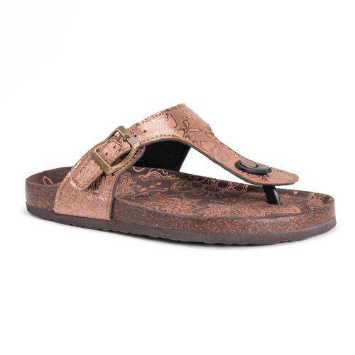 Muk Luks Women's Tina Sandals 9 Bronze Medium ...
