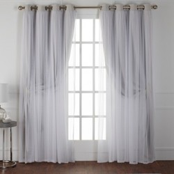 9d67ba6591b3 ... Caterina Layered Solid Blackout With Sheer Top Curtain Panels Cloud  Gray 52X63 - Exclusive Home ...