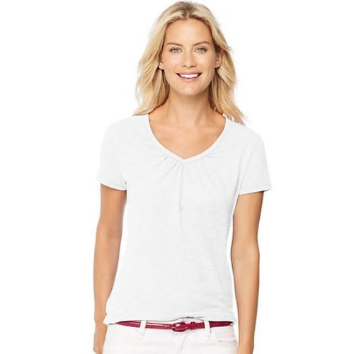 27a8b476e25 Hanes Women s Shirred V-neck T-Shirt - White - Size XL - Check Back Soon -  BLINQ