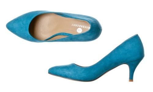 8b28ad976a2 Riverberry Women s Katy Kitten Low Heel Pumps - Turquoise Suede ...