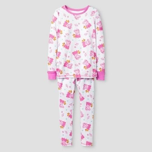 2f2158c97099 Toddler Girls' Cuddl Duds Peppa Pig 2-Piece Thermal Underwear Set White 2T/