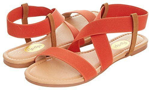 b404cb45048 ... Floopi Women s Summer Flat Sandals Open Toe Elastic Ankle Strap  Gladiator Sandal 8 Orange Medium ...