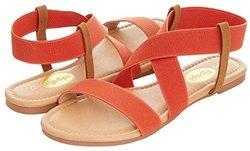 Floopi Women's Summer Flat Sandals Open Toe Elastic Ankle Strap Gladiator Sandal 8 Orange Medium 2192730