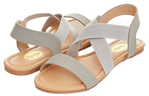 4edde1d61b16 ... Floopi Women s Summer Criss Cross SlinGBack Elastic Strap Flat Sandal  10 Grey Medium ...
