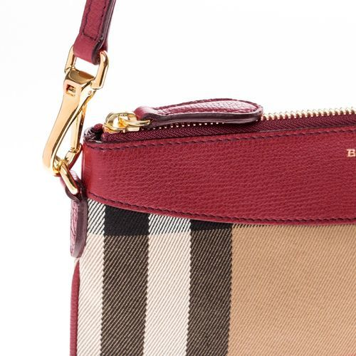 Burberry Women s House Check   Leather Clutch Bag - Red - Size S ... 984c62a51b850