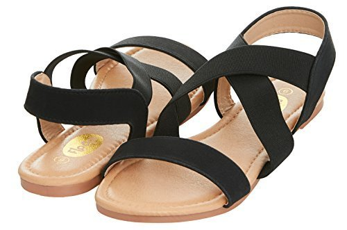 a6fc72403701 ... Floopi Women s Summer Criss Cross SlinGBack Elastic Strap Flat Sandal 8  Black Medium ...
