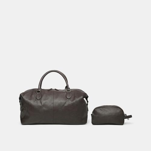 0ce432eba1b ... PX Clothing Men s Vegan Leather Travel Dopp Kit - Brown - Size  One ...